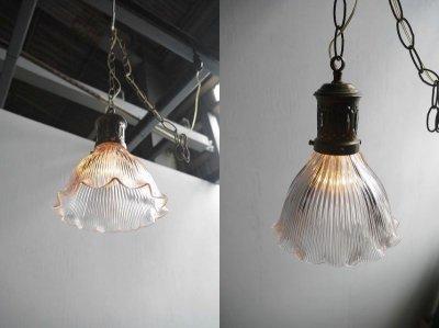 画像1: アンティーク HOLOPHANE  クリアガラス 吊り下げランプ