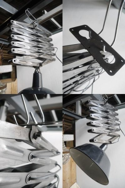 画像3: アンティーク ドイツ製 インダストリアル 天井付けシザーランプ B