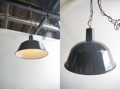 画像1: アンティーク インダストリアル ホーロー吊り下げランプ