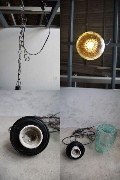 画像3: アンティーク ウクライナ製 グリーンガラス吊り下げランプ C