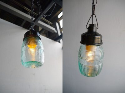 画像1: アンティーク ウクライナ製 グリーンガラス吊り下げランプ C