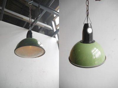 画像1: アンティーク インダストリアル ホーロー吊り下げランプ C