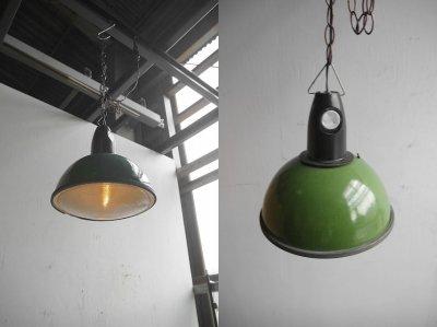 画像1: アンティーク インダストリアル ホーロー吊り下げランプ A